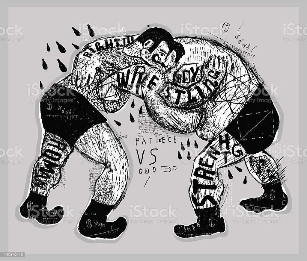 Wrestlers vector art illustration