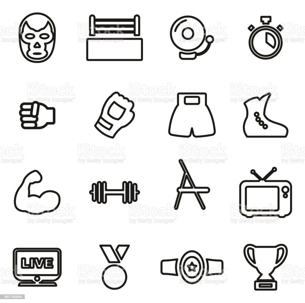 Wrestling All in One Icons Black & White Color Flat Design Freehand Set vector art illustration