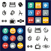 Wrestling All in One Icons Black & White Color Flat Design Freehand Set