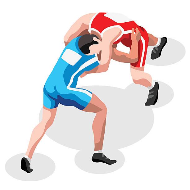 wrestling fight sports 3d isometric vector illustration - wrestling stock illustrations, clip art, cartoons, & icons