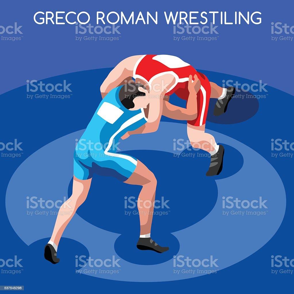 Wrestling Greco Roman Isometric Athletes Sporting Championship International Wrestling Competition vector art illustration