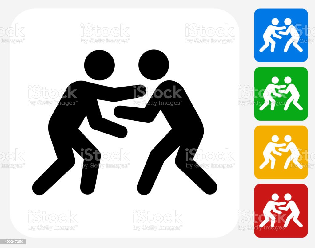 Wrestling Icon Flat Graphic Design vector art illustration