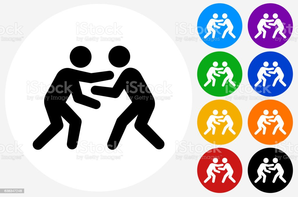 Wrestling Icon on Flat Color Circle Buttons vector art illustration