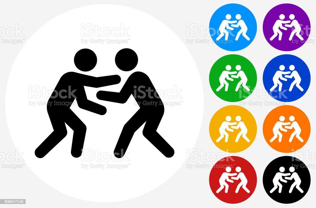 Wrestling Icon on Flat Color Circle Buttons – Vektorgrafik