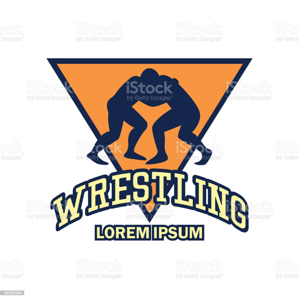 wrestling icon with text space for your slogan vector art illustration