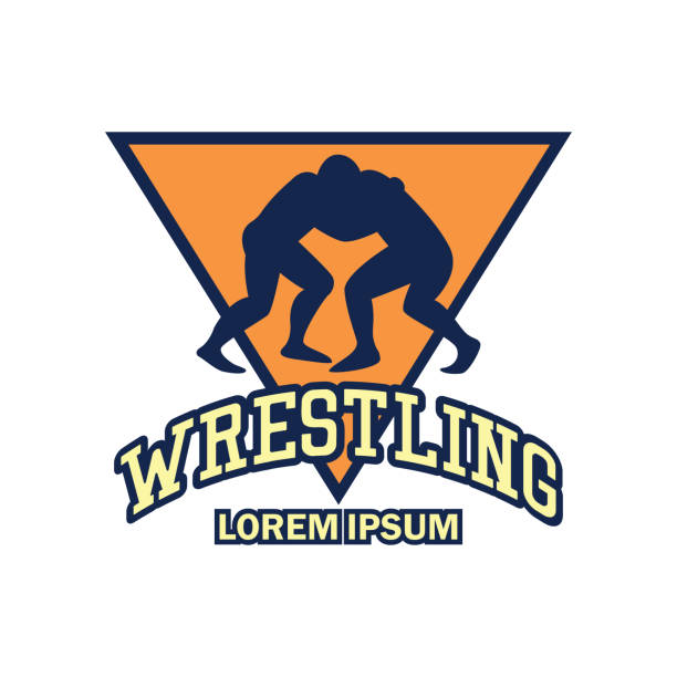 wrestling icon with text space for your slogan - wrestling stock illustrations, clip art, cartoons, & icons