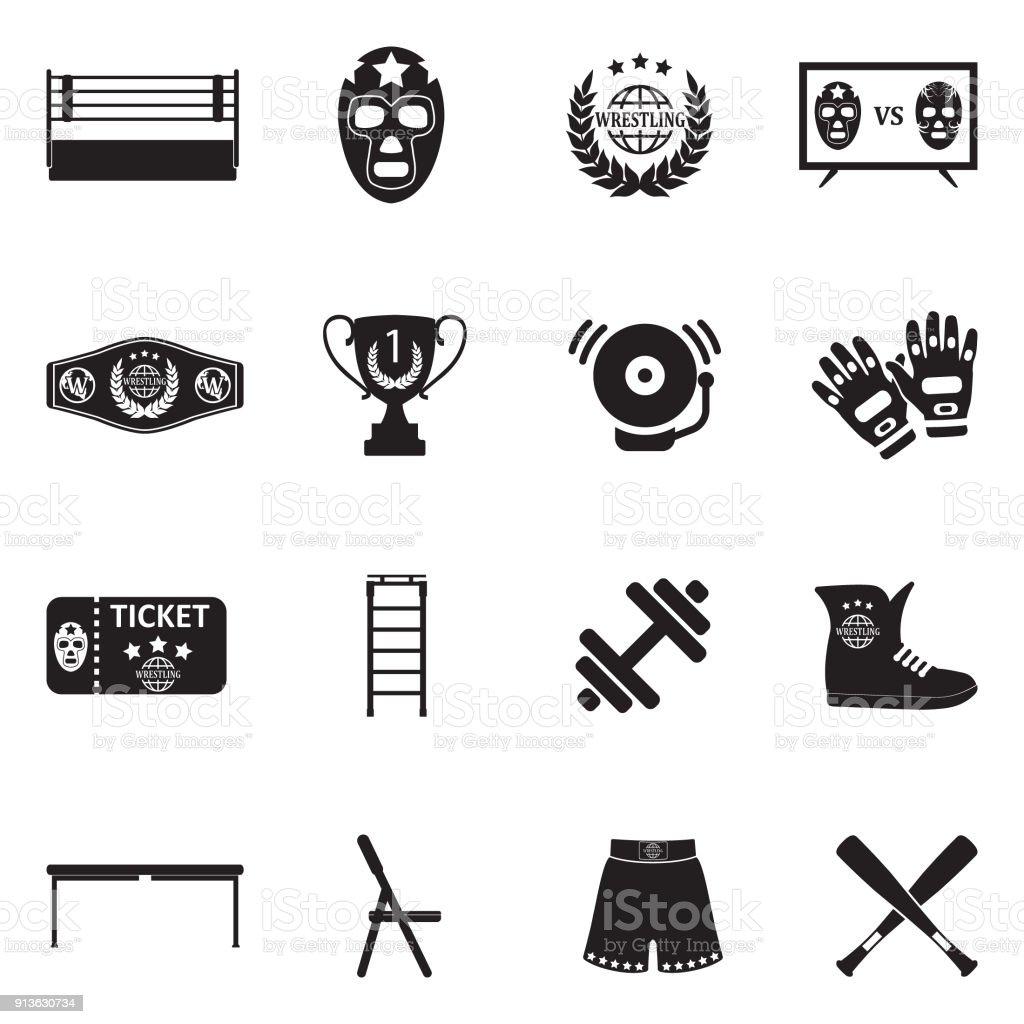Iconos de la lucha libre. Diseño plano negro. Ilustración de vector. - ilustración de arte vectorial