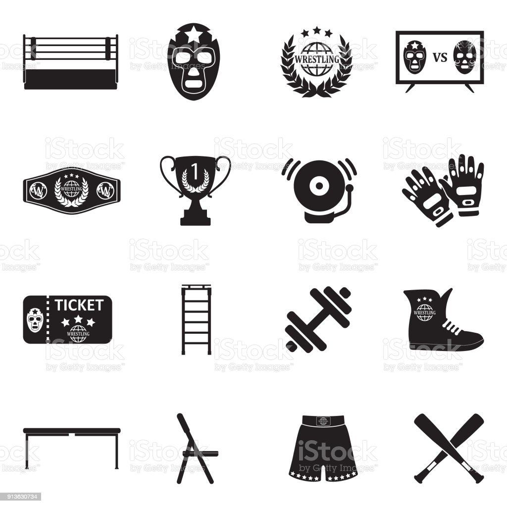 Wrestling Icons. Black Flat Design. Vector Illustration. vector art illustration