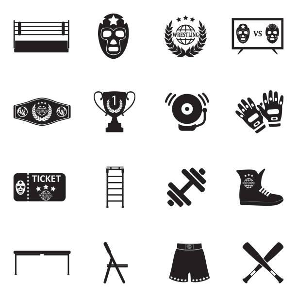 ilustraciones, imágenes clip art, dibujos animados e iconos de stock de iconos de la lucha libre. diseño plano negro. ilustración de vector. - lucha