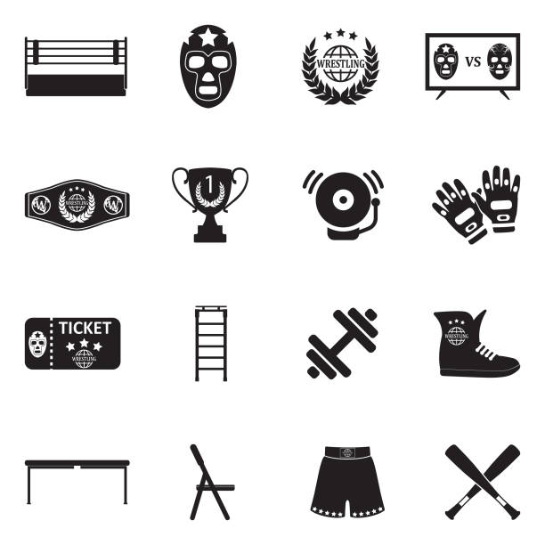 wrestling icons. black flat design. vector illustration. - wrestling stock illustrations, clip art, cartoons, & icons