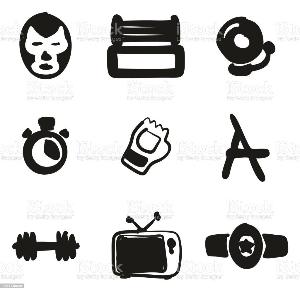 Wrestling Icons Freehand Fill vector art illustration