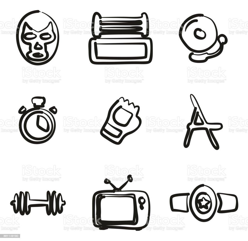 Wrestling Icons Freehand vector art illustration