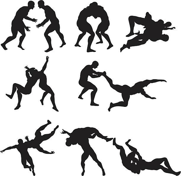 レスリングシルエット - レスリング点のイラスト素材/クリップアート素材/マンガ素材/アイコン素材