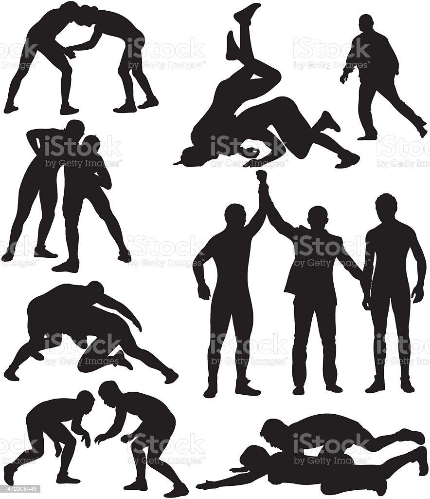 wrestling silhouettes vector art illustration