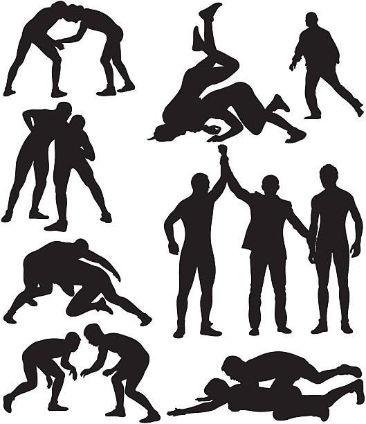 wrestling silhouettes - wrestling stock illustrations, clip art, cartoons, & icons