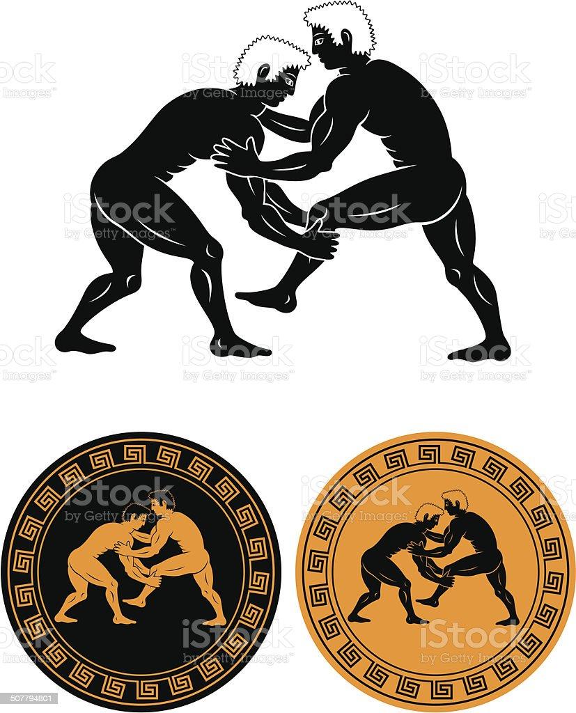 wrestling vector art illustration