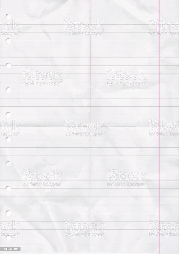Faltig und gefalteten Blatt Papier Linie. – Vektorgrafik