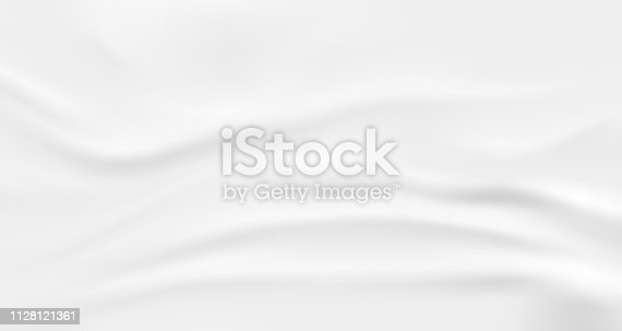 Wrinkled fabric background. White vector wavy cloth