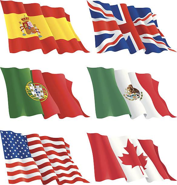 ilustraciones, imágenes clip art, dibujos animados e iconos de stock de conjunto de banderas - bandera mexicana