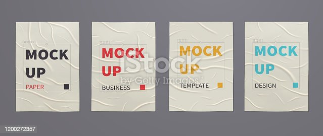 istock Wrinkled wet posters mockups of crumpled sheets of paper. Set of advertising templates for design. 1200272357