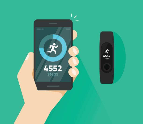 Wrist band bracelet with run activity and fitness tracking app on mobile phone screen vector flat, smartphone with run tracker and wristband, walk steps counter sport tech on cellphone Wrist band bracelet with run activity and fitness tracking app on mobile phone screen vector flat cartoon style, smartphone with run tracker and wristband, walk steps counter sport tech on cellphone counting stock illustrations