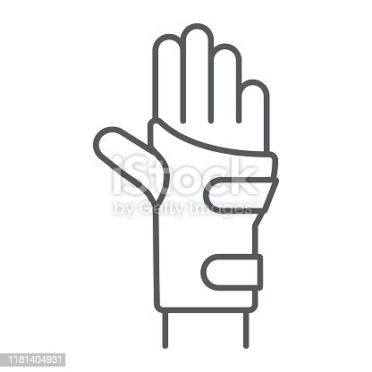istock Wrist brace thin line icon, orthopedic and medical, arm bandage sign, vector graphics, a linear pattern on a white background. 1181404931