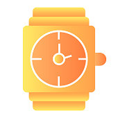 Wrist watch flat icon. Gold watch vector illustration isolated on white. Men jewelry gradient style design, graphic for web or app
