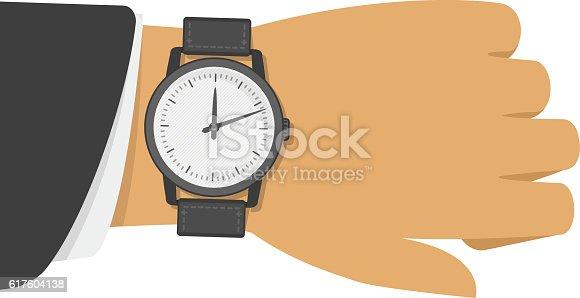 istock Wrist watch on hand. 617604138