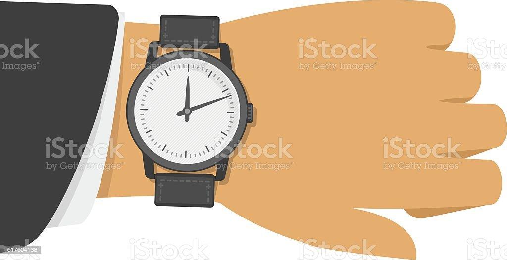 Wrist watch on hand. vector art illustration