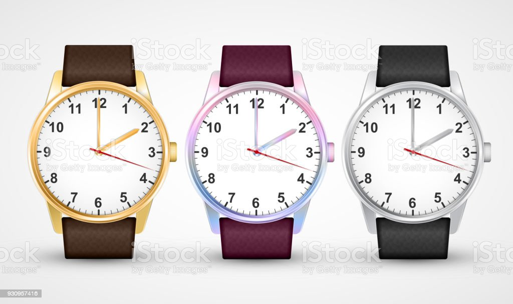Wrist Watches. Classic design watch set. Isolated on White. vector art illustration