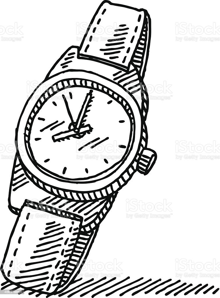 Wristwatch Drawing vector art illustration