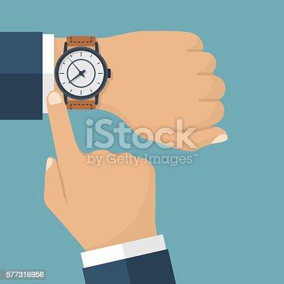 istock Wristwatch hand vector 577316956