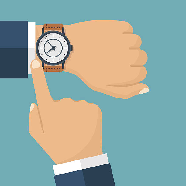 Wristwatch hand vector vector art illustration