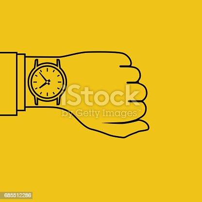 istock Wristwatch on hand, minimal 685512286