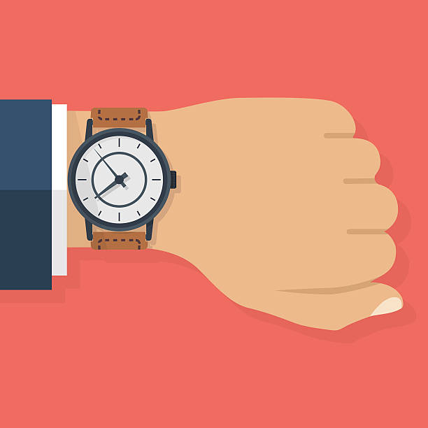 Wristwatch on hand of businessman vector art illustration