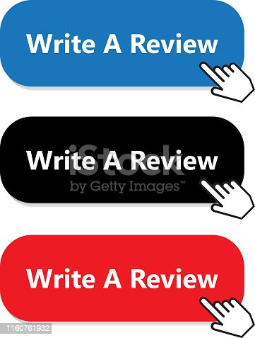 Write a review button collection with a hand pointer.