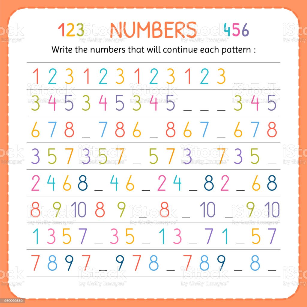 Write The Numbers That Will Continue Each Pattern Numbers For Kids ...