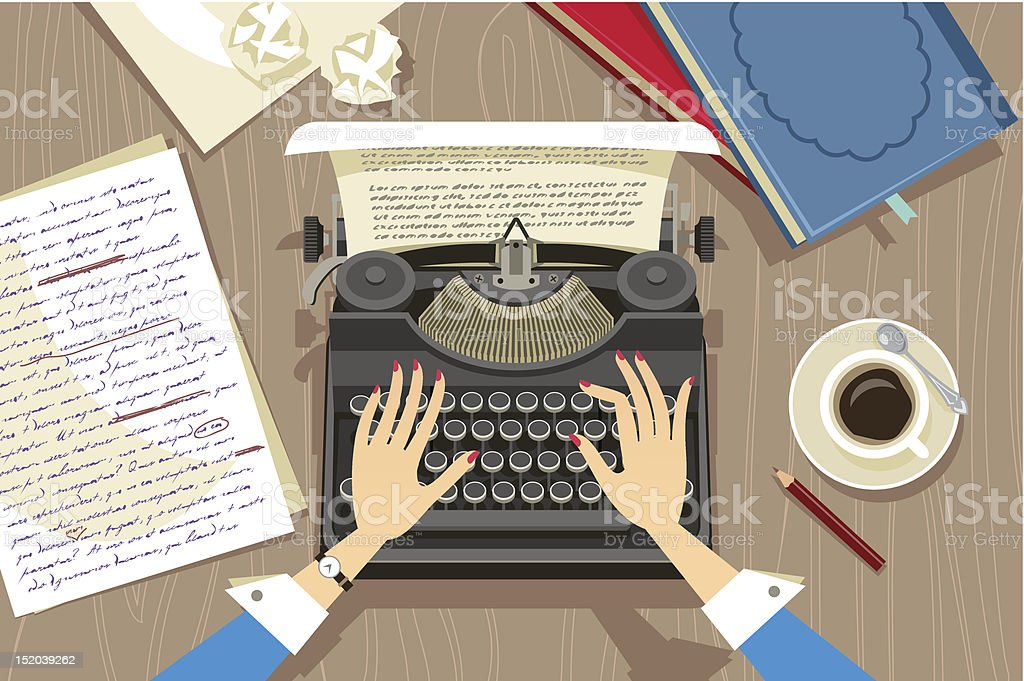 Writer at work vector art illustration