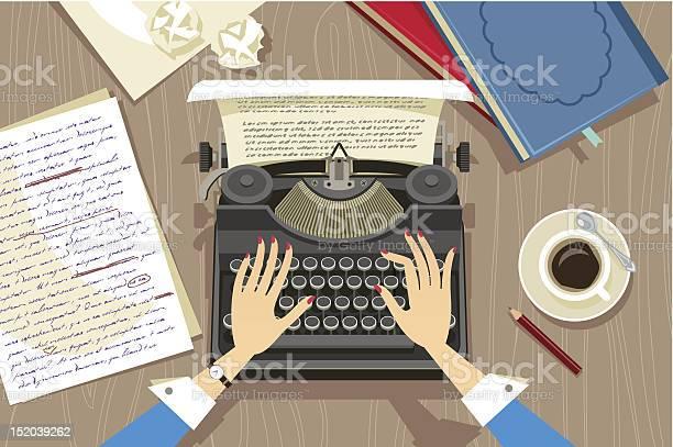Writer At Work Stock Illustration - Download Image Now