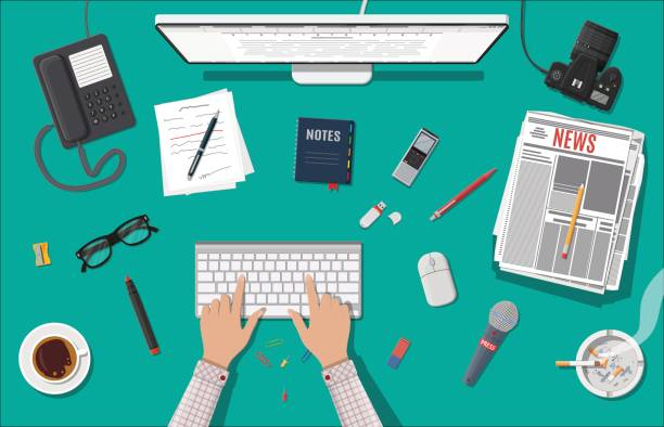 Writer or journalist workplace. vector art illustration