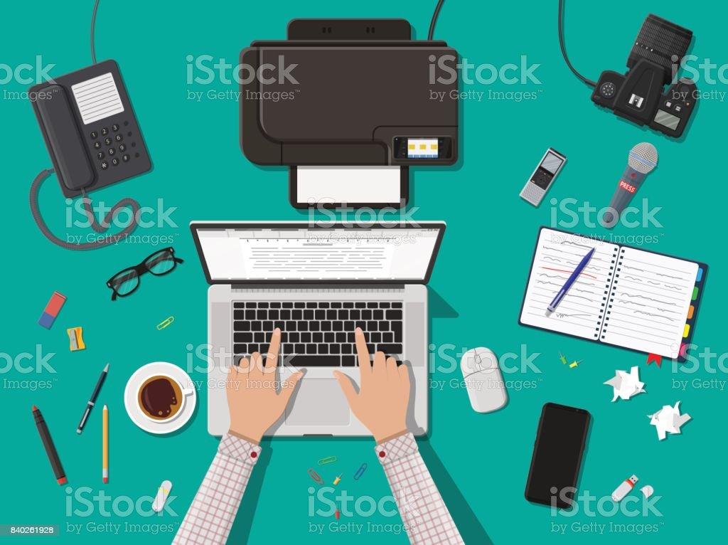 Writer or journalist workplace. vector art illustration