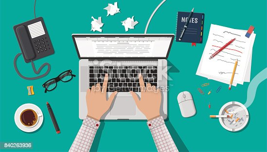 Writer or journalist workplace. Laptop pc, draft, mouse. Paper sheets on working table with text, pen, pencil. Ashtray, cigarette, coffee cup. Eyeglasses phone. Vector illustration in flat style