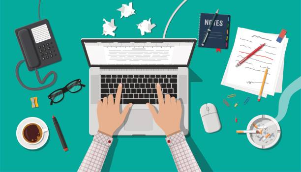 Writer or journalist workplace. Writer or journalist workplace. Laptop pc, draft, mouse. Paper sheets on working table with text, pen, pencil. Ashtray, cigarette, coffee cup. Eyeglasses phone. Vector illustration in flat style writing activity stock illustrations
