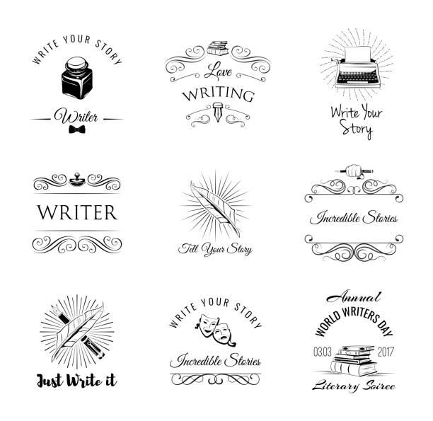 Ecrivain vintage série labeles et insignes. Éléments de Design rétro art. - Illustration vectorielle