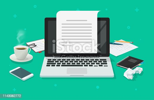 Writer workplace and computer paper sheet vector illustration, flat cartoon 3d copywriter workspace table creating electronic text book top view, writing letter or journal via laptop, journalism
