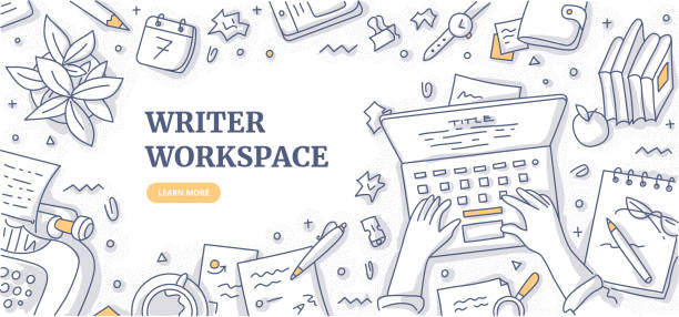 Writer Workspace Doodle Background Concept Writer, editor, journalist or copywriter workspace. Hands of man who types text on laptop. Creative desktop top view. Typewriter, papers, diary, coffee mug, crumpled paper. Flat lay doodle illustration copywriter stock illustrations