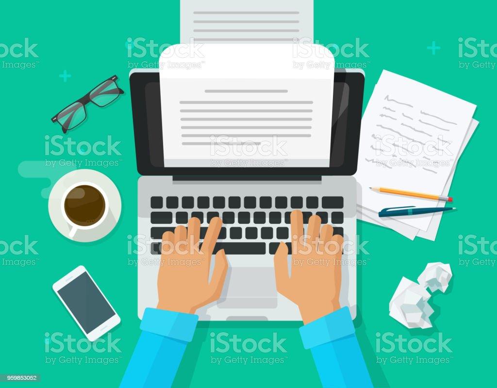 Schriftsteller schreiben am Computer Papier Blatt Vektor-Illustration, flache Cartoon personeneditor schreiben, elektronisches Buch Text Draufsicht, Laptop mit Schreiben Buchstaben oder Journal, Journalist Autor arbeiten clipart – Vektorgrafik