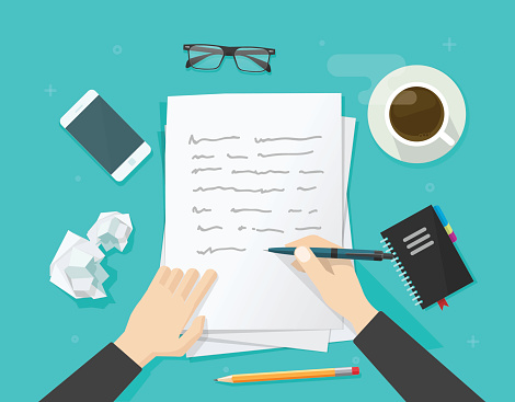 Writer writing on paper sheet, workplace, author desktop, write letter