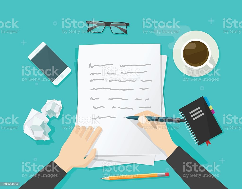 Writer writing on paper sheet, workplace, author desktop, write letter vector art illustration