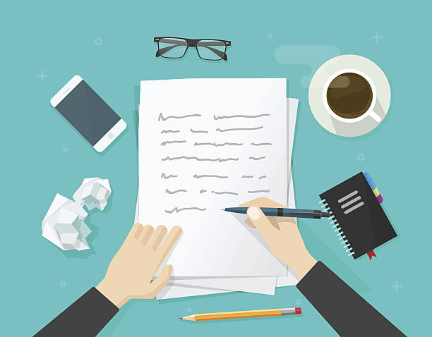 Writer writing on paper sheet, workplace, author desktop, write letter Writer writing on paper sheet vector illustration, flat cartoon person hands with pen on working table with text, workplace top view, desktop with writing letter, journalist author wokspace writing activity stock illustrations